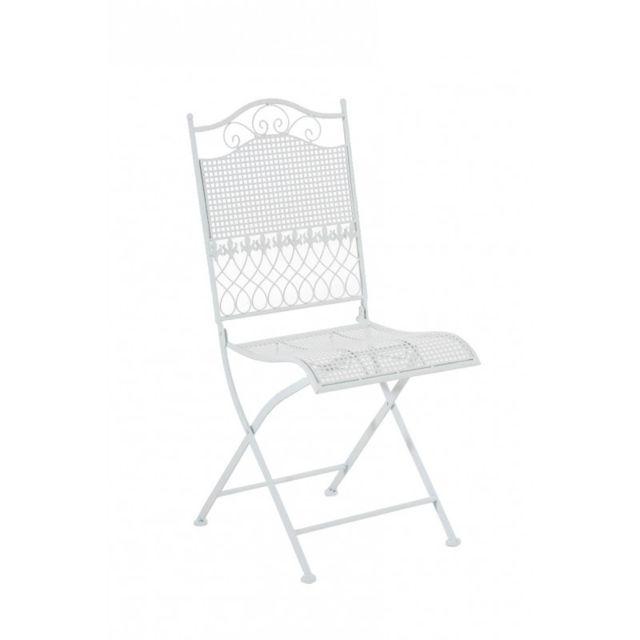 decoshop26 chaise de jardin en fer forg blanc mdj10025 pas cher achat vente chaises de. Black Bedroom Furniture Sets. Home Design Ideas