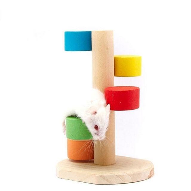 Wewoo Jouet pour Animaux de petits de compagnie de plate-forme d'échelle d'étape de hamster en bois naturel d'animal familier