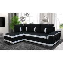 Chloe Design - Canapé d'angle convertible Amelie - tissu - noir et blanc - Angle gauche