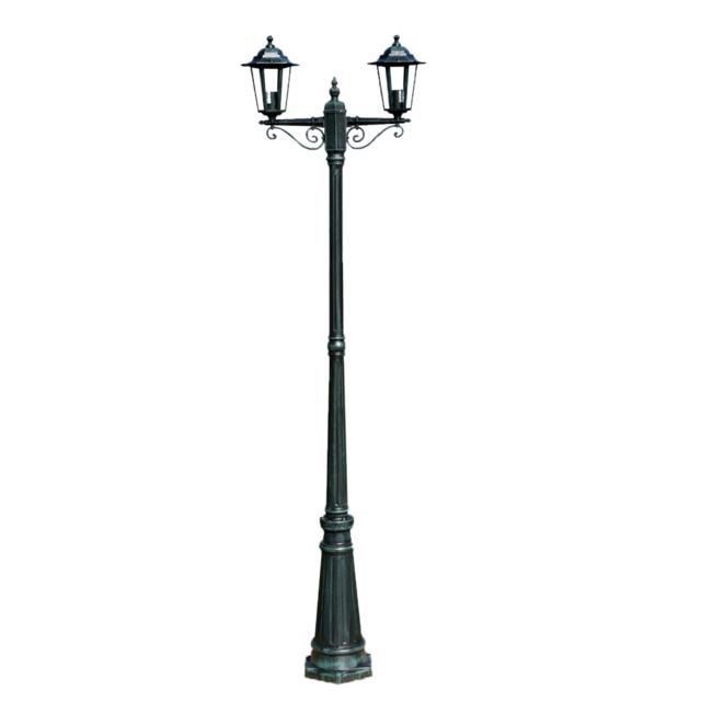 Rocambolesk - Superbe Lampadaire extérieur double noir hauteur 230 cm Neuf