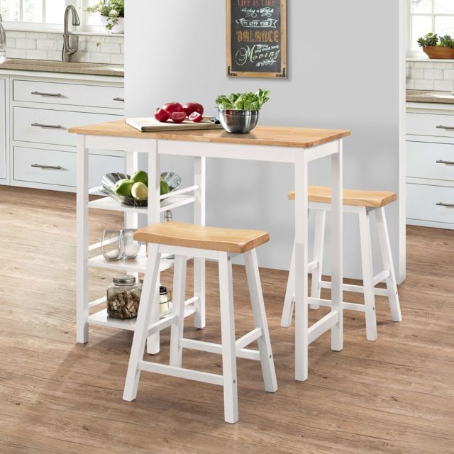 Vidaxl Bar 3 pcs Mdf Blanc Mobilier Meubles de Bar Bistrot Chaises Table