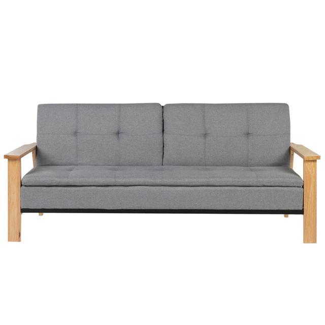 BELIANI Canapé-lit en tissu gris TJORN