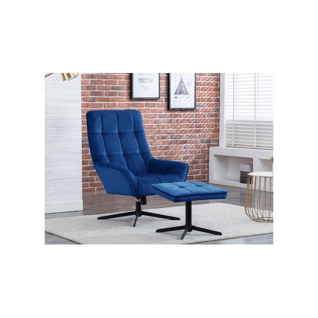 MARQUE GENERIQUE Fauteuil de relaxation avec repose-pieds en velours DANUTA - Bleu nuit