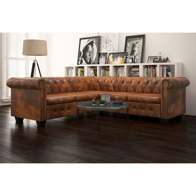 Inedit Meubles reference Mascate Canapé d'angle Chesterfield 5 plcs Cuir artificiel Marron