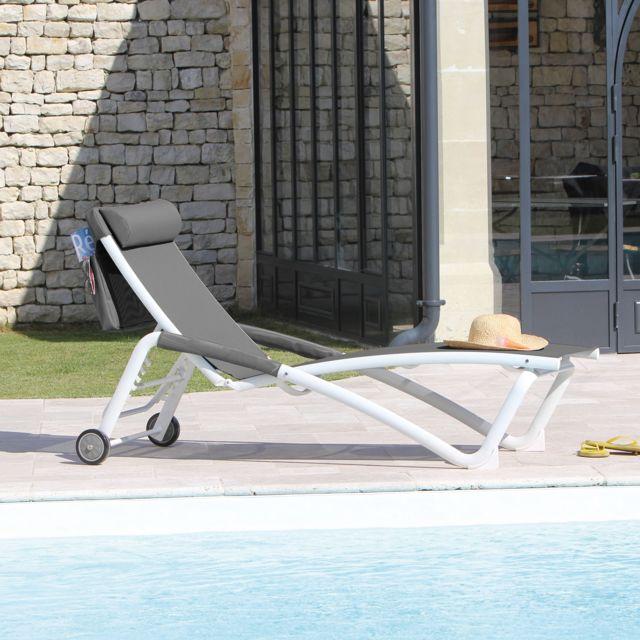 Proloisirs Lot de 2 bains de soleil réglables avec roues