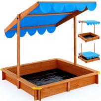 Rocambolesk - Superbe Bac à sable Deluxe 120x120cm - hauteur toit réglable - tapis de sol Neuf