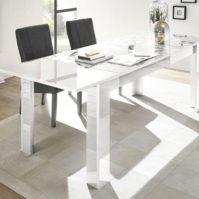 Kasalinea Table 180 Cm Avec Rallonge Design Blanc Laque Nino