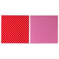 Pt - Dessous de plat céramique pois rouge et rose 20x20cm - Lot de 2 Dots & Stripes