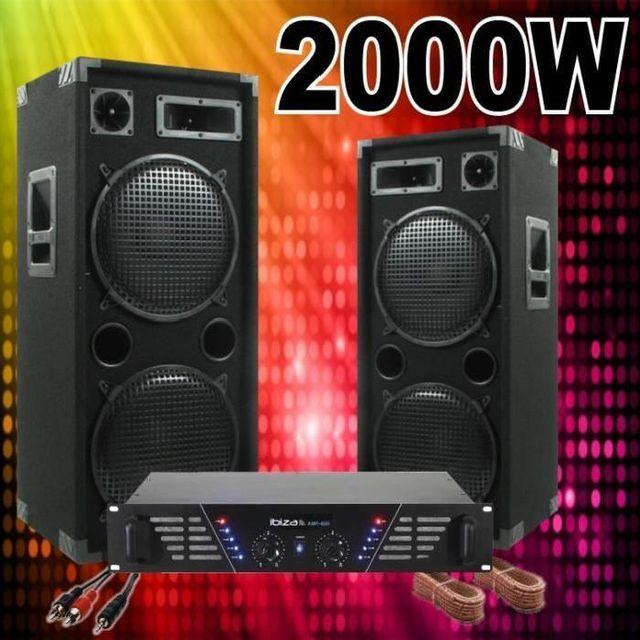 Ibiza Sound Pack sono complete 2000w avec 2 enceintes 1000w - 1 ampli 960w - câble hp - câble pc pa dj led