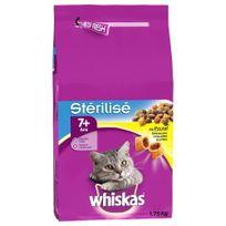 Whiskas - Croquettes au Poulet Stérilisé 7+ pour Chat Stérilisé - 1,75Kg