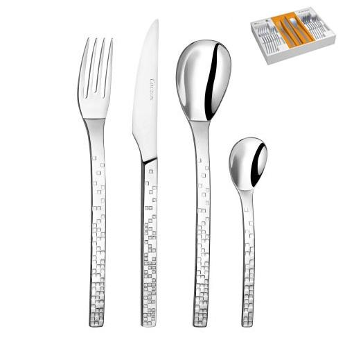 Acier massif 18 -10 inoxydable - finition miroir - épaisseur 2.5 mm - garantie lave-vaisselle - Marque : - Coffret 24 pièces comprenant : 6 fourchettes de table + 6 cuillères de table + 6 couteaux de table + 6 cuillères à café