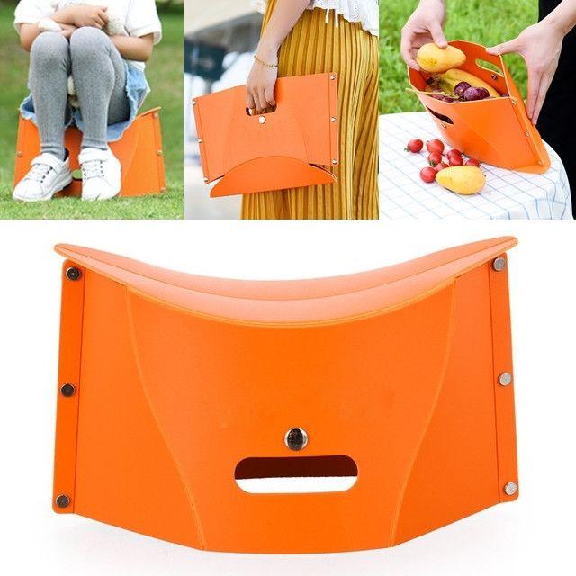 Wewoo Chaise pliante en plastique créative multifonctionnelle portative extérieure de pique-nique orange