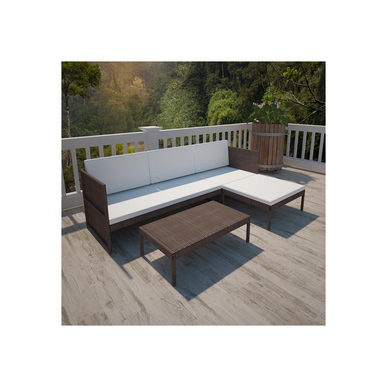 VIDAXL Salon d'extérieur marron avec canapé 3 places en polyrotin
