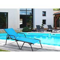 Dedans Dehors - Chaise longue empilable Zen en aluminium gris et Turquoise
