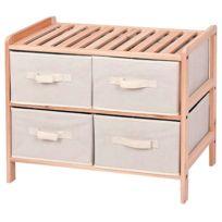 Provence Outillage - Étagère bois horizontale 2x2 tiroirs 59cm