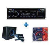 CALIBER - Autoradio CD/USB/SD RCD 232 + caisson équipé d'un sub de 30cm et ampli mono + kit montage ampli 20mm²