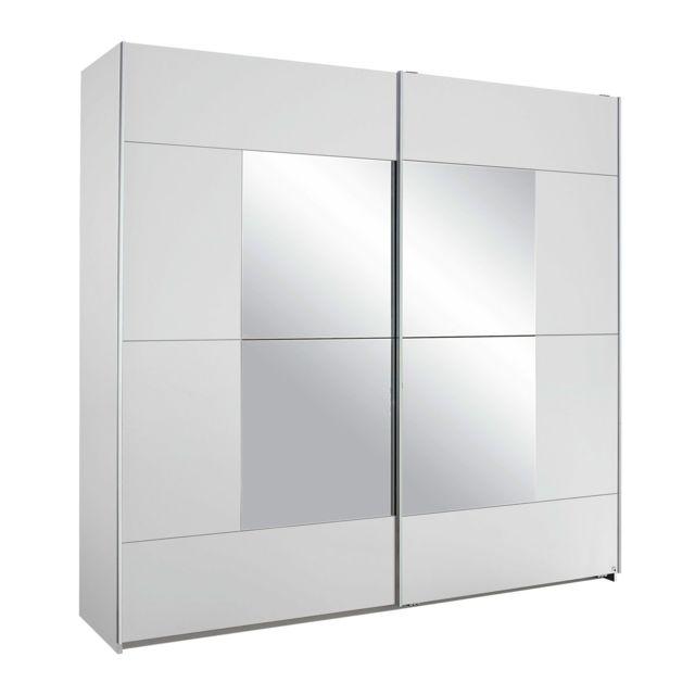 Armoire 2 portes avec miroir 218x210x59cm - blanc