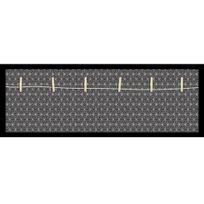 Graham & Brown - Pêle mêle en bois noir 6 pinces fond gris motif rosace géométrique 70x25cm Origami
