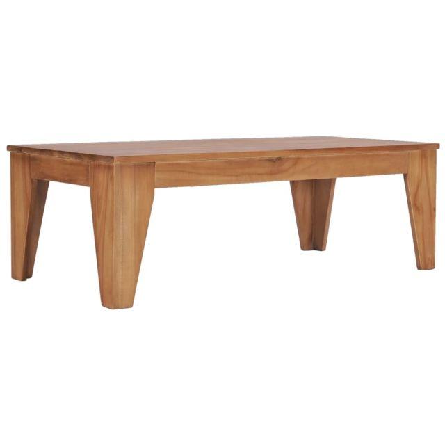 Vidaxl Bois de Teck Solide Table Basse 120x60x40 cm Table d'Appoint Salon
