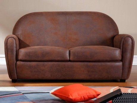 MARQUE GENERIQUE - Canapé 2/3 places microfibre aspect cuir vieilli ...