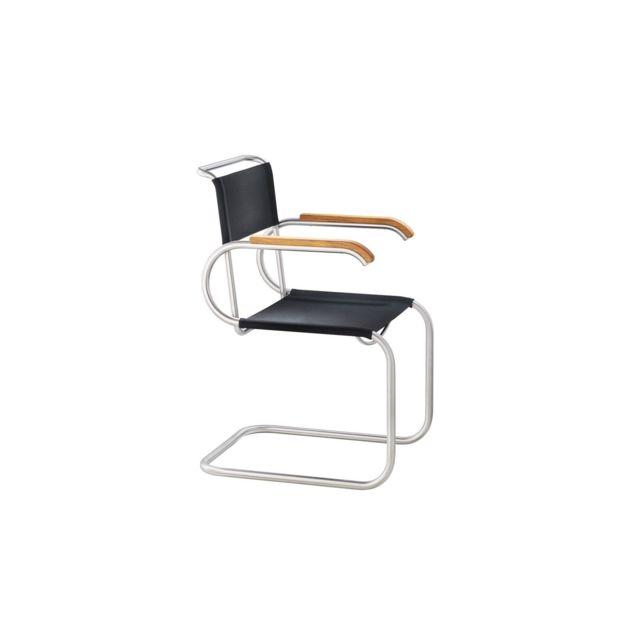 Tecta Chaise cantiveler D40 Bauhaus - Hêtre nature - patins Ptfe - Tissu - noir