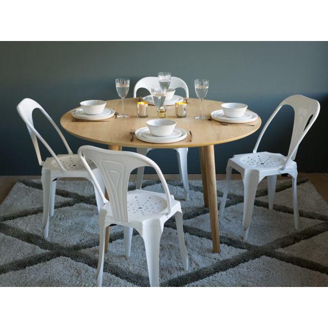 Axe Design - Table à manger ronde bois massif Diamètre 120cm Nagano Marron - 0cm x 0cm x 0cm