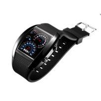 Chic And Watch - Montre Digital Led Bleu Tableau de Bord Voiture Sport Bracelet Caoutchouc binaire noire
