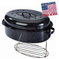 Warmcook - graniteware - 0508+2006 - cocotte ovale en acier carbon 38x26cm + grille Roaster