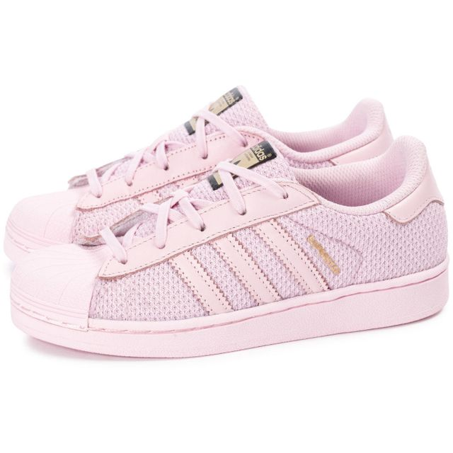 brand new c8eca b4ffb chaussures adidas superstar el enfant rose vue par paire