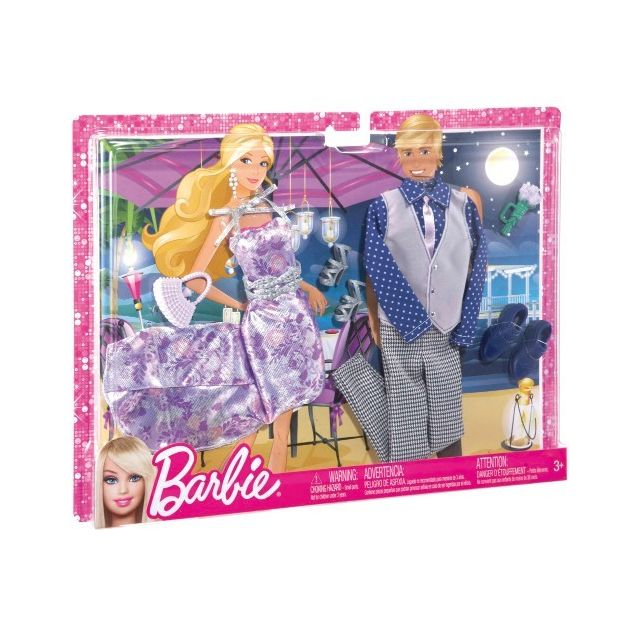dd2b0a1883b Barbie - Coffret habits Dîner au clair de lune pour et Ken - Mattel -  Vêtement Poupée - pas cher Achat   Vente Poupées - RueDuCommerce