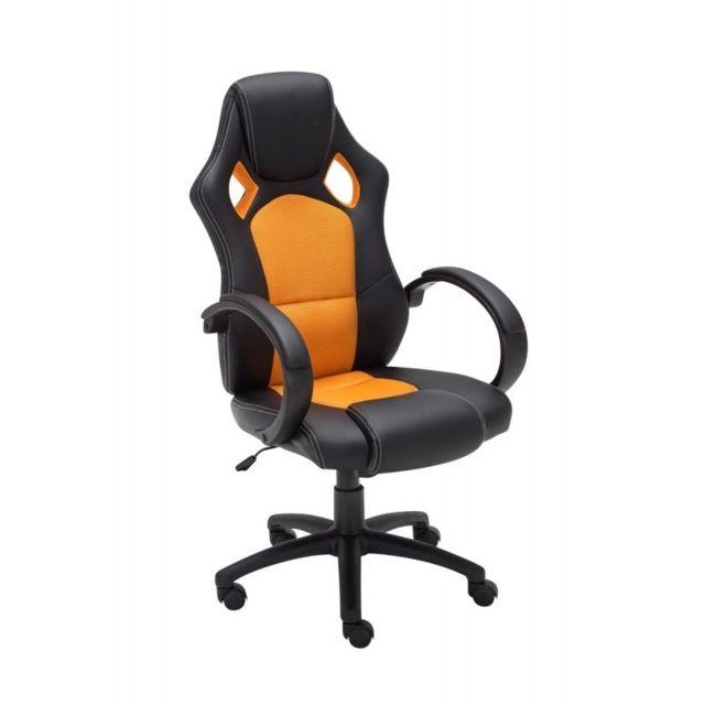 chaise bureau confortable pas cher Decoshop26 - Fauteuil chaise de bureau confortable hauteur réglable en  similicuir orange Bur10158