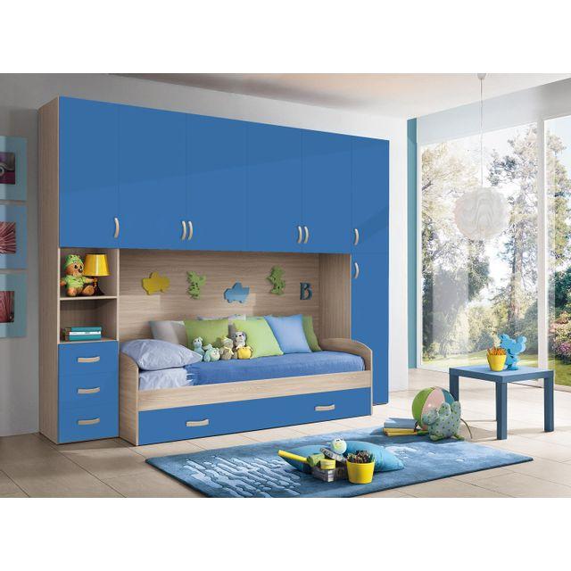 Mennza Chambre d'enfant complète Hurra combiné lit pont décor orme / bleu