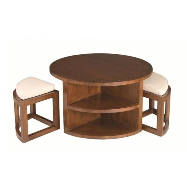 Inside 75 Ensemble table basse ronde 90cm 2 tabourets Lauren en mindi style colonial