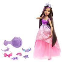 Barbie - Poupée : Grande princesse brune à coiffer