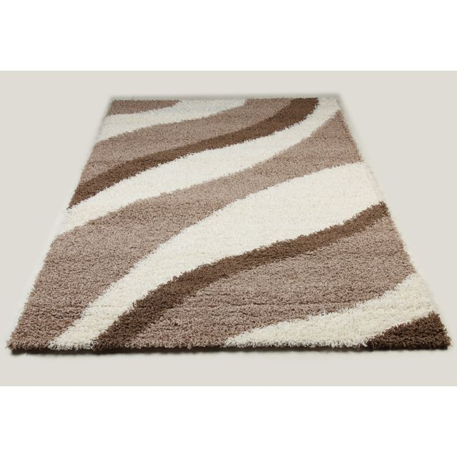 Tapis shaggy marron et beige de salon Vasco 9