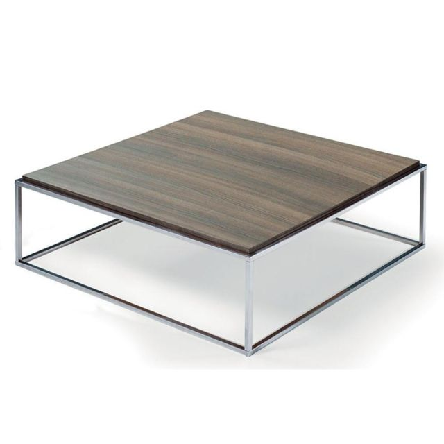 Inside 75 Table basse carrée Mimi Xl céruse noyer structure acier inoxydable poli