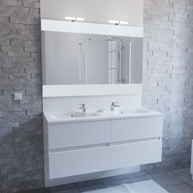 Meuble salle de bain double vasque ROSALY 120 - Blanc brillant