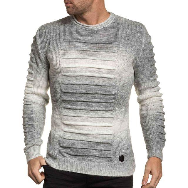 951ef4fc71043 BLZ Jeans - Pull homme blanc laine strié - pas cher Achat   Vente ...