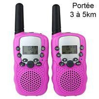 Yonis - Talkie walkie 22 canaux push to talk écran Lcd portée 3 à 5 km Rose