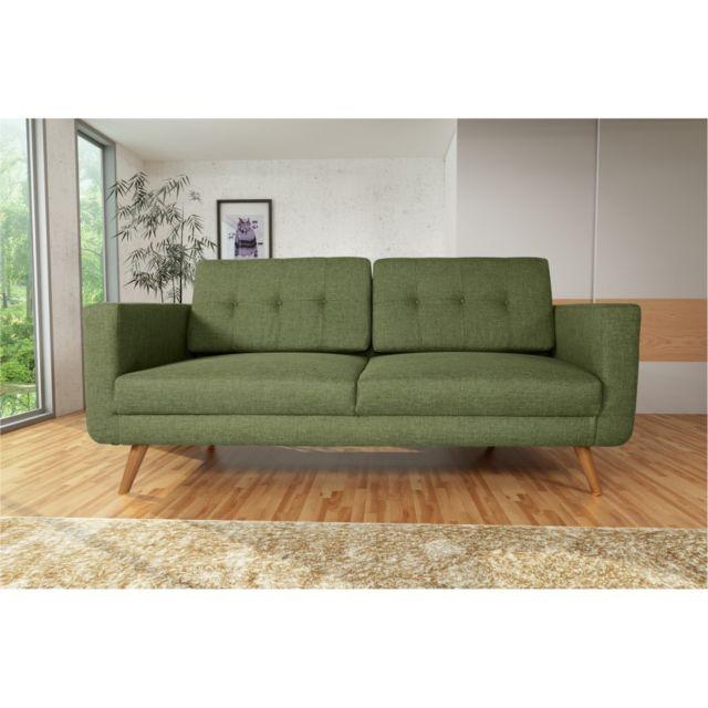 Rocambolesk Canapé Hedvig 3 savana vert 08 pieds naturels sofa divan