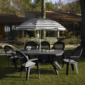 grosfillex salon de jardin 6 couverts ibiza 165 x 100 cm gris avec parasol pas cher achat. Black Bedroom Furniture Sets. Home Design Ideas