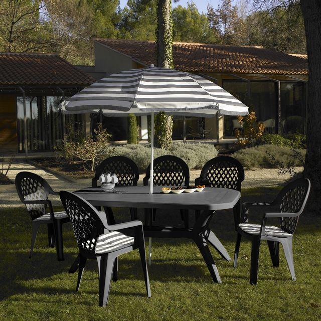 Grosfillex - Salon de jardin 6 couverts ibiza 165 x 100 cm gris avec ...