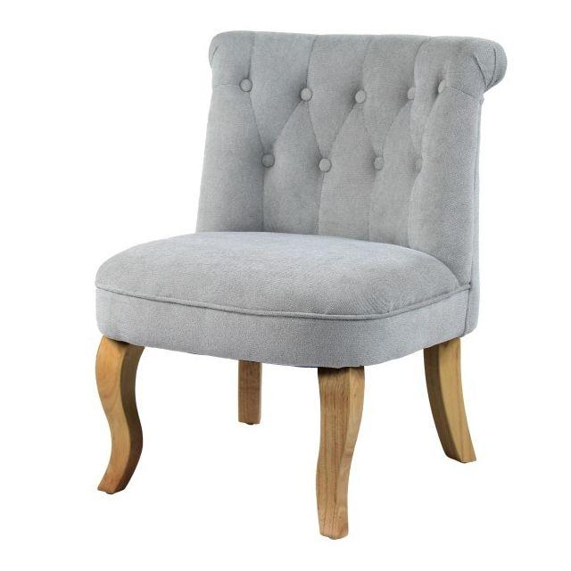 Moloo King-fauteuil crapaud tissu gris pied bois naturel