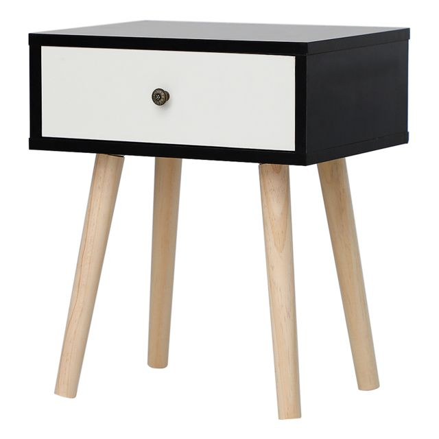 Ltppstore Table de chevet simple scandinave avec tiroirs coulissants Table de chevet scandinave noir-blanc clair laqué satiné