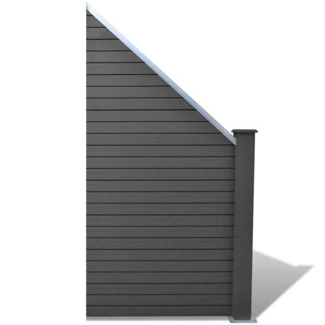 Contemporain Clôtures et barrières selection Port-Vila Panneau de clôture  de jardin Wpc incliné Gris