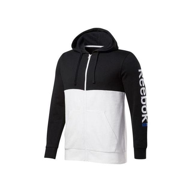 Training Linear noir Full Zip Essentials blanc Sweatshirt Logo Hoodie dtshQr