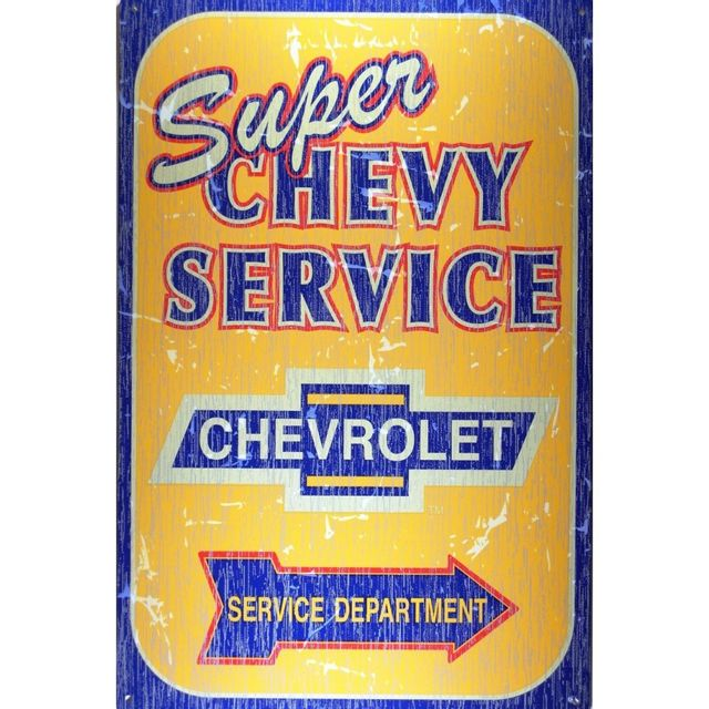 Universel Plaque chevrolet super service orange tole publicitaire deco