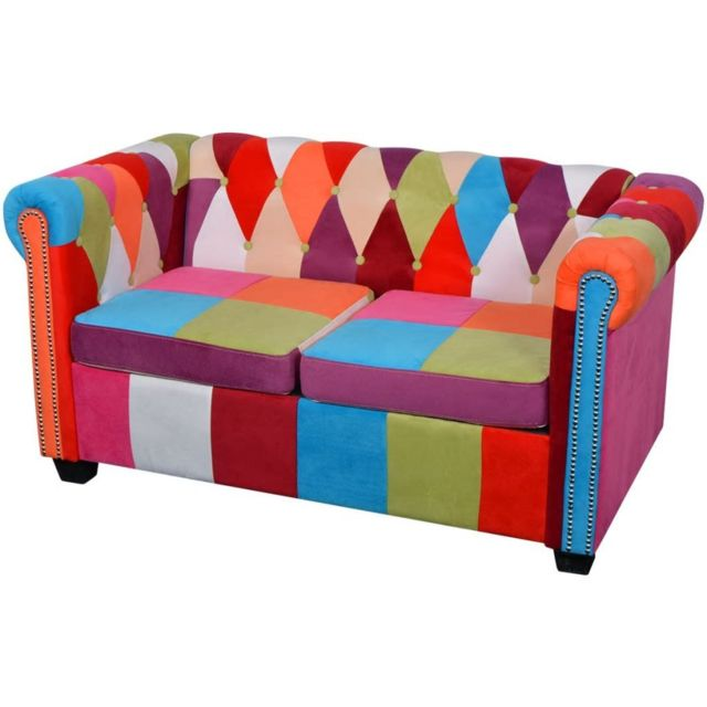 VIDAXL Canapé Chesterfield 2 places Tissu | Multicolore