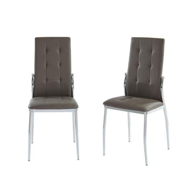 Chaise Alma Lot de 2 chaises de salle a manger En métal taupe L 46 x P 50 x H 100 cm