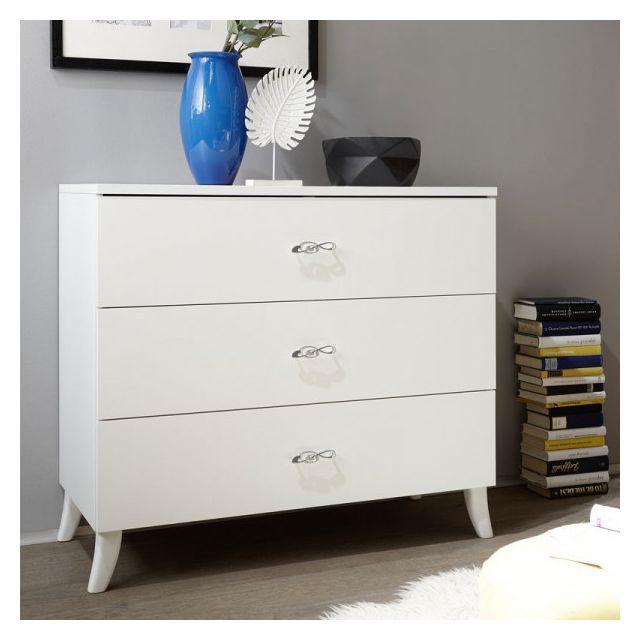 Dansmamaison Commode 3 tiroirs Blanc - Yolande - L 104 x l 45 x H 92 cm